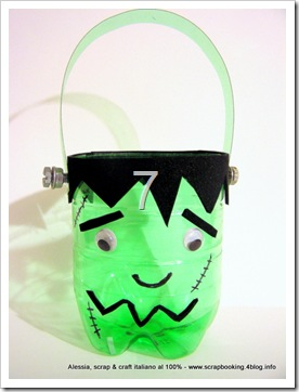Halloween Candy Bowl riciclando le bottiglie in PET, Frankenstein