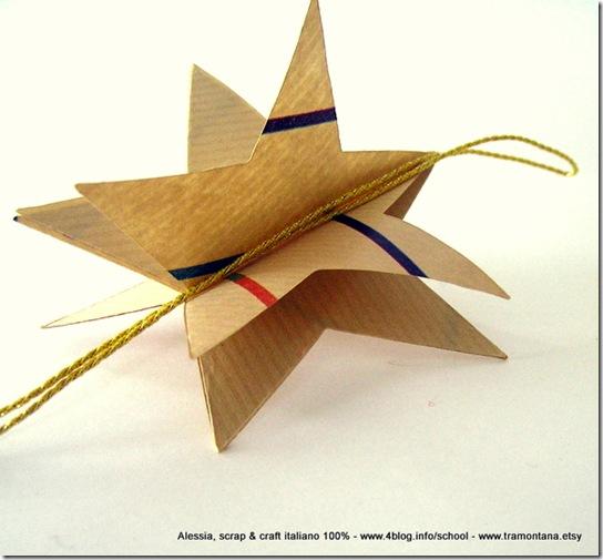 Le stelle di carta incollando le faccette a due a due