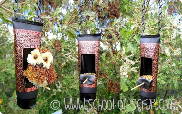 Tubetti di bagnoschiuma diventano mangiatoie per uccellini - Casette per uccellini da costruire ...