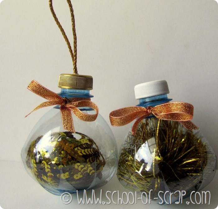 Garrafas plásticas se tornam bolas para a árvore de Natal # EcoCRaftTour